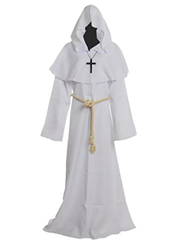 [Costume for The Medieval Monks Priest Robe Hooded Cosplay Various Styles (Medium, White)] (Priest Halloween Costume Deluxe)