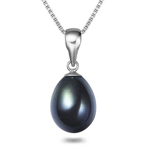 7x9mm Drop-shape Black Cultured Pearl Pendant 18