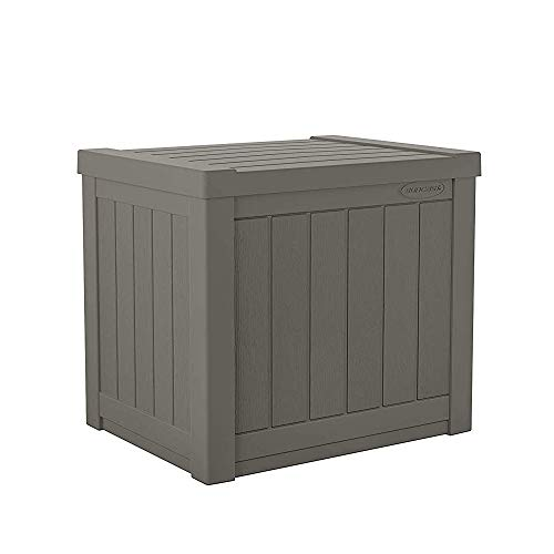 Suncast 22-Gallon Small Deck Box - Lightweight Resin Outdoor Storage Deck Box and Seat for Patio Cushions, Gardening Tools and Toys - Stone -