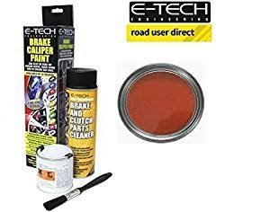 E-Tech Brake Caliper Paint - MATT RED - Complete Kit Inc Paint/Cleaner & Brush