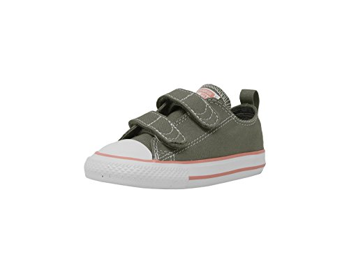 Converse Toddlers Chuck Taylor All Star 2V Ox Dark/Stucco/Pale/Coral/White Basketball Shoe 4 Infants US
