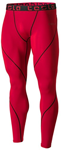 Tesla TM-MUP19-RED_Medium Men's Compression Pants Baselayer Cool Dry Sports Tights Leggings MUP19
