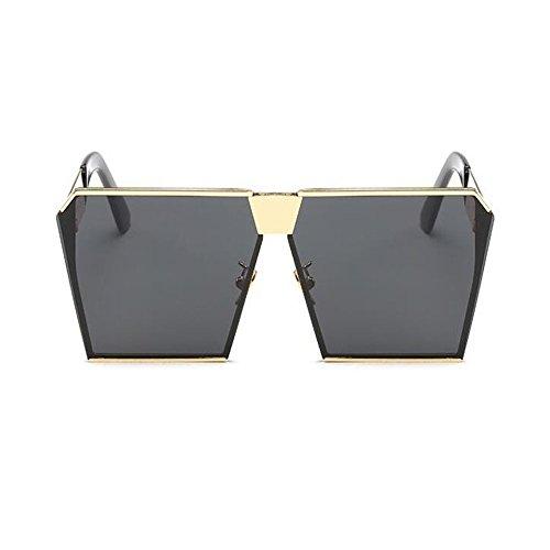 Marco Oro Gafas Pescar sol Metal Mujer Gafas o Cuadrado Gris Hombre Conducción Claro Vendimia Hombre UV400 Hzjundasi Gafas Mujer sol y de de UPFwxFq1R