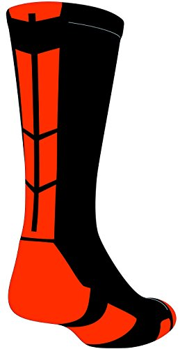 Baseline 3.0 Athletic Crew Socks (Black/Orange, X-Large)