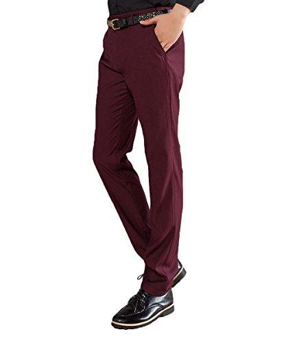 D'affaire Unie Coupe Homme Noir Fit Allthemen Blanc Rouge Droite Vin De Pantalon Costume Slim Couleur vggSqY