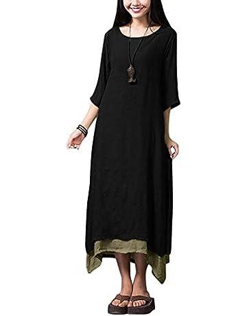 cf3fc8ef6 Romacci Women Vintage Dress Split Irregular Hem Casual Loose Boho Long Maxi  Dresses Orange/Army