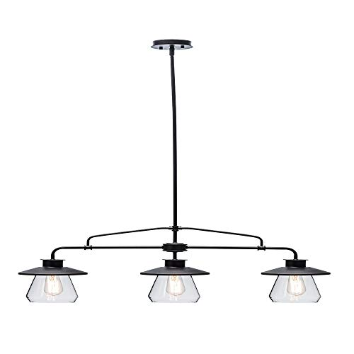 Globe Electric 64845 Nate 3-Light Pendant, Bronze, Oil Rubbed Finish, Clear Glass Shades (Kitchen Pendant Light Island 3)
