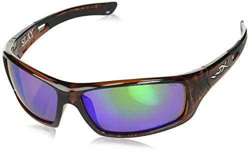 Wiley X ACSLA07 Slay Sunglasses Polarized Emerald Green Mirror, Black