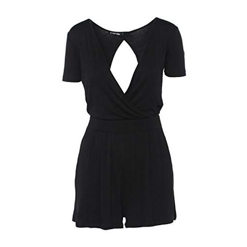 9babc9ba0e trueprodigy Casual Damen Marken Playsuit einfarbig Basic Oberteil Cool  Stylisch V-Ausschnitt Kurzarm Slim Fit