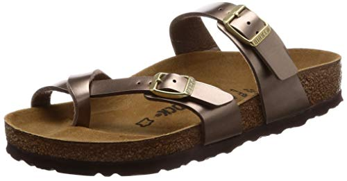 Birkenstock Women's Mayari Adjustable Toe Loop Cork Footbed Sandal MTLC Taupe 39 M ()
