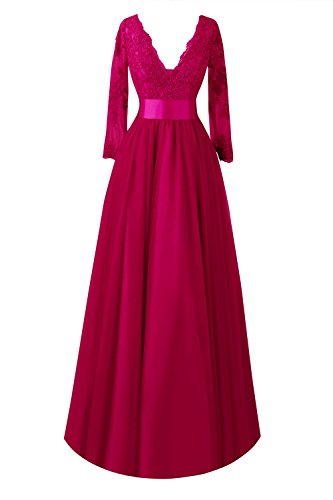 the Mother Sleeve Women Bridal of Formal Lace Bride Burgundy s Bess Long Dresses x0qgwRS1z