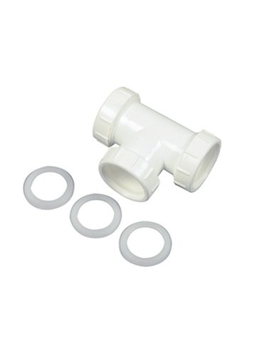 - Danco 94038 Tee, 1-1/2 in, Plastic, [Finish]<, for Use with Slip Joint Tubes, White