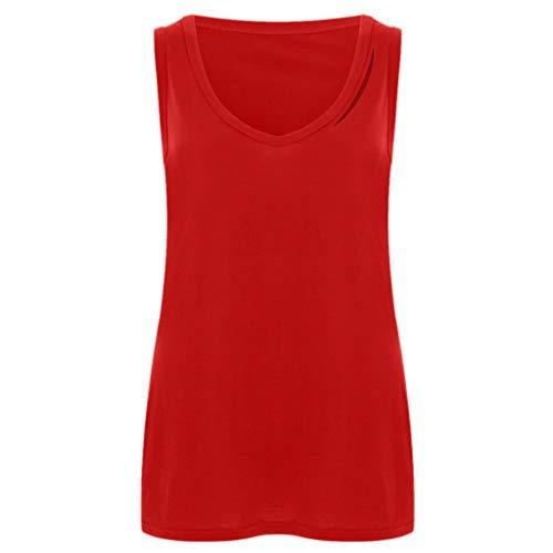 Women's Sexy Tops 2019,Summer Tank Tops Women Sleeveless Round Neck Loose T Shirt Ladies Vest Under 10 Dollars Red]()