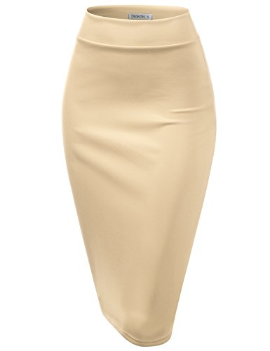 CLOVERY Lighweight Fabric Office Wear Premium Hyper Stretch Scuba Oversize Skirt Oatmeal M