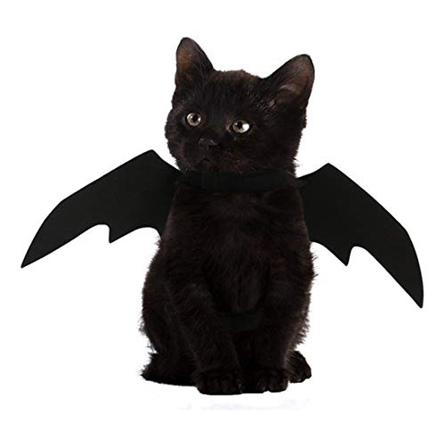 FineInno Halloween Pet Bat Wings Cat Costume Black Fancy Dress Costume Animal Outfit Cosplay Apparel Adjustable Neck Closure Party Daily Wear (Bat -
