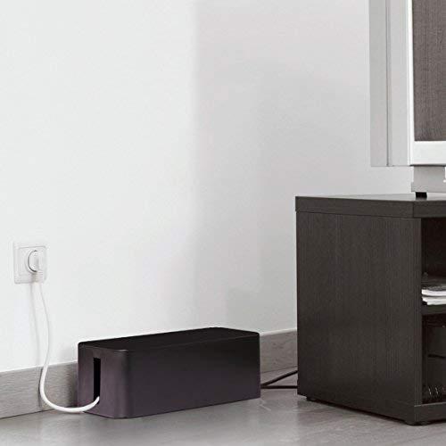 Baskiss 電源タップ & ケーブルボックス テーブルタップ収納ボックス 1セット Lサイズ & Mサイズ ブラック