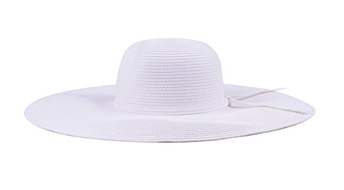 White Hat Sun Hats Women Straw With Ribbon Wide Brim Adjustable Fashion