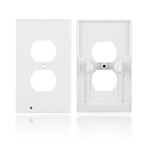 Outlet Wall Plate with LED Night Lights by Marquee Innovations | 4 Pack | No Wires or Battery Needed – Fast Install | Duplex, White by Marquee Innovations (Image #2)