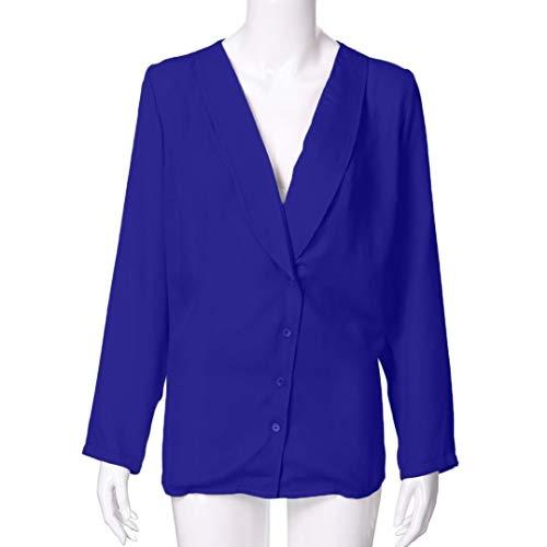 Printemps V col Blouse T S Shirt XL Femmes Roll Bouton Blouse Longues Solide Chemises Bleu Fonc Tops HENPI Jupes Tops Manches Et Up lgant Casual Blouse n0YwTYCq