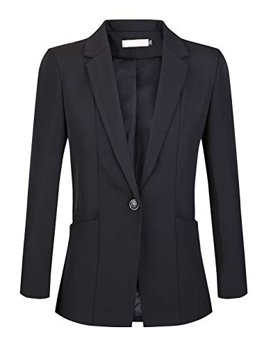 JHVYF Womens Casual Basic Work Office Blazer One Button Jacket B6001 Black Tag 2XL /US 6 (Button 2 Corduroy Blazer)