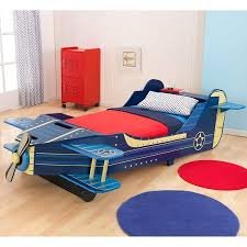 Most Popular Exciting Adventure Boys Toddler Youth Blue Yellow Flying Airplane Fighter Plane Bedroom Bed Frame Furniture- Real Spinning Propeller Wings Storage- Imaginations Soar High With Each Flight