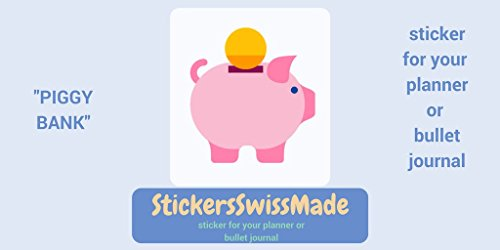 PIGGY BANK | small multicolored icon | sticker for your planner or bullet ()