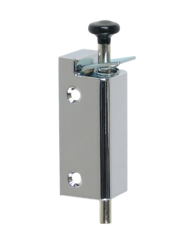 FPL Sliding Door Lock Security Foot Bolt in Polished Chrome - Quickly and Easily Locks and Unlocks with Your Foot
