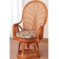 座椅子 回転 天然 籐(ラタン) ハイバック 回転式 座椅子 ハイタイプ B0071UPA3Y Parent