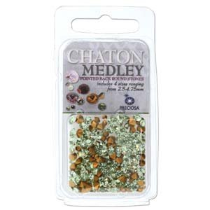 Preciosa Chaton Medley Mix Chrysolite 2.5mm to 4.75mm Pointed Foil Back Round Crystal Setting Stones 5 Grams