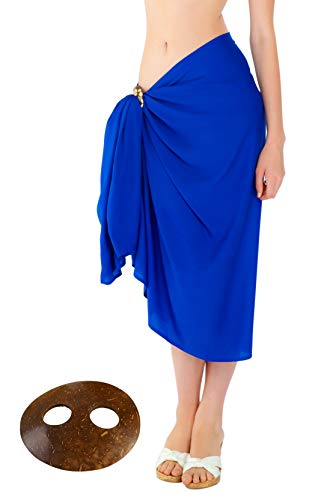 (1 World Sarongs - Sarong and Sarong Tie - Womens Fringeless (TM) Swimsuit Cover-up Solid Sarong in Blue)