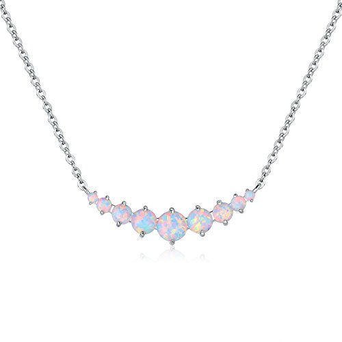 Opal White Fire Pendant - Barzel White Gold Plated Created Fire Opal Graduated Necklace