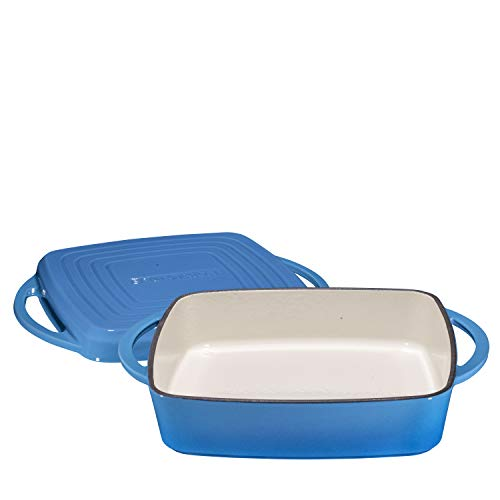 2 in 1 Enameled Cast Iron Square Casserole Baking Pan With Griddle Lid 2 in 1 Multi Baker Dish 11'' - Blue Whale by Bruntmor (Image #1)