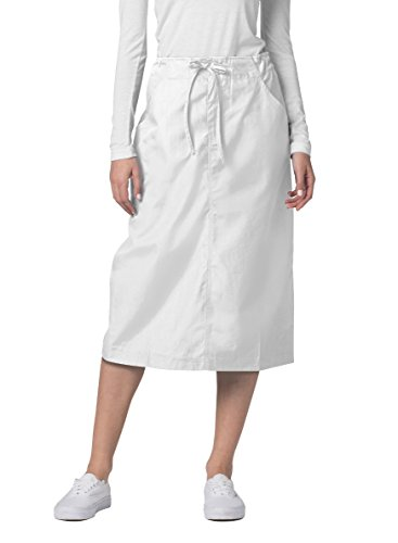Adar Universal Mid-Calf Length Drawstring Skirt (Available is 17 Colors) - 707 - White - Size 12