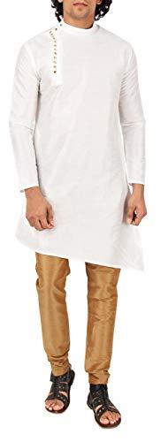 - Maharaja Mens Raw Silk Indian Ethnic Designer Kurta Pyjama Set for Diwali Festival Occasion Wear in White [MSKP029-38]