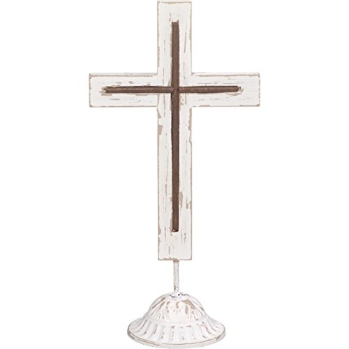 "Precious Moments Rustic Farmhouse Distressed Simple Wood & Metal 10"" Tabletop Home Décor Cross 173424"