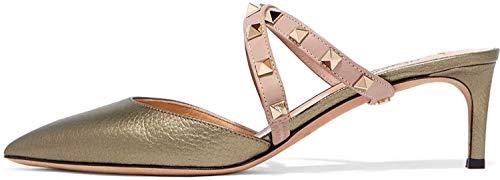 Ayercony Rivet Shoes, Rockstud Sandal Slides Cross Strap Mules Kitten Heel Mule Slipper Pointed Toe Mule Shoes for Dress Amber Size 8 US (Mule Kitten)