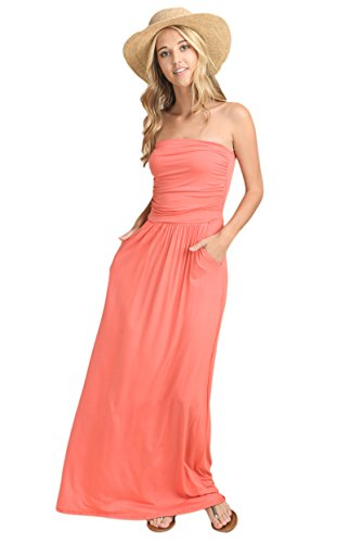 Vanilla Bay Solid Maxi Dress,Medium,Coral (Coral Maxi Dresses For Women)