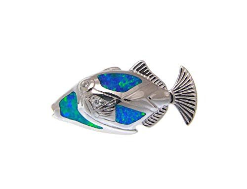 925 sterling silver inlay synthetic blue opal Hawaiian humuhumunukunukuapua fish slide pendant