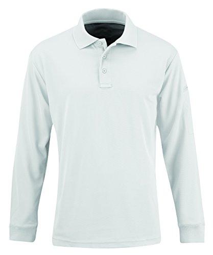 Propper Men's Uniform Long Sleeve Polo, White, Medium