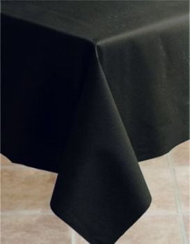 Hoffmaster 8108-D13 Linen-Like Solid Black Color In Depth Table cover, Banquet Size 50 x 108 inch - 20 per case. ()