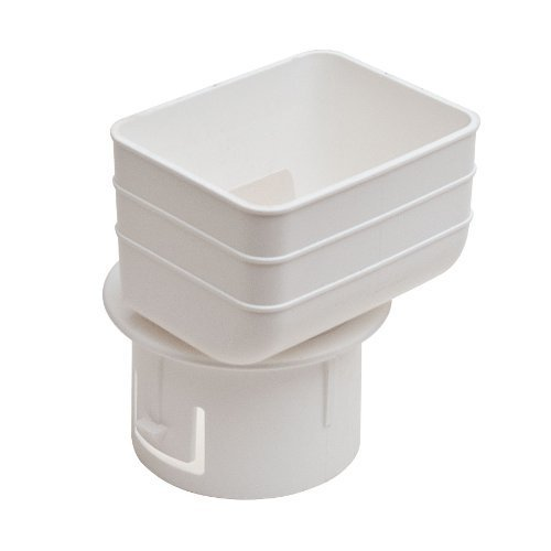 Universal Downspout to Drain Pipe Tile Adapter (White, 2x...