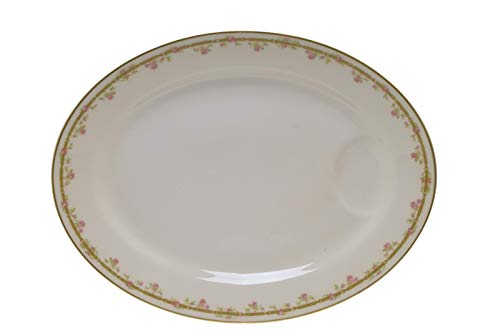 Theodore Haviland Limoges France Pink Roses Green Link Gold Meat Platter 13 7/8