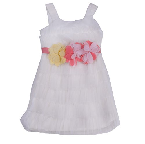 Richie House Little Girls' White Tulle Dress with Pink Rosettes (Pink Tulle Rosette)