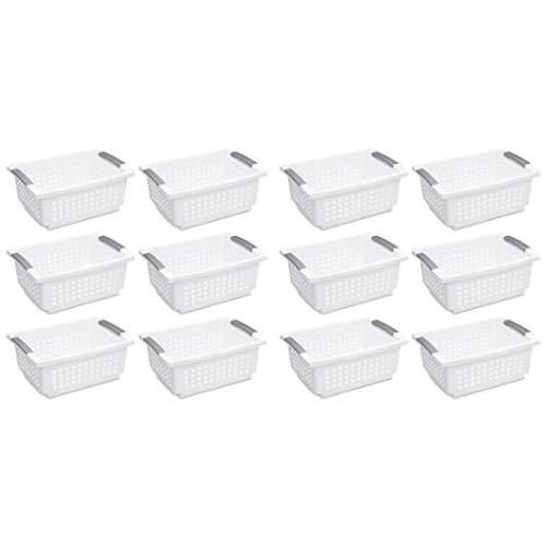 Sterilite 16628006 Medium Stacking Basket, White Basket w/Titanium Accents, (12 Pack, White) by STERILITE