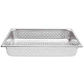 TableTop King 30043 Super Pan V Full Size Anti-Jam Stainless Steel Perforated Steam Table/Hotel Pan – 4″ Deep
