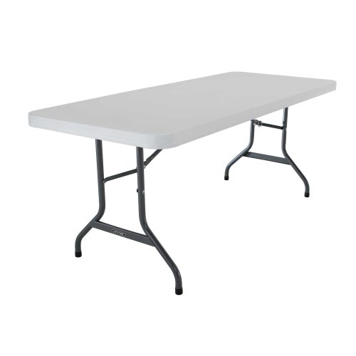 Lifetime 22901 Folding Utility Table, 6 Feet, White Granite - Lifetime Folding Picnic Tables