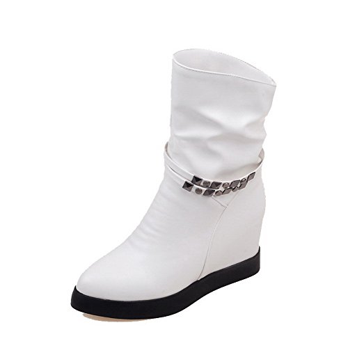 AmoonyFashion Womens High-Heels Soft Material Low-top Solid Pull-on Boots White RuXsnNRJ