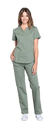 Cherokee Workwear Professionals Women's V-Neck Top WW665 & Women's Pull-On Cargo Pant WW170 Scrub Set (Olive - X-Small/XSmall Petite) by Cherokee