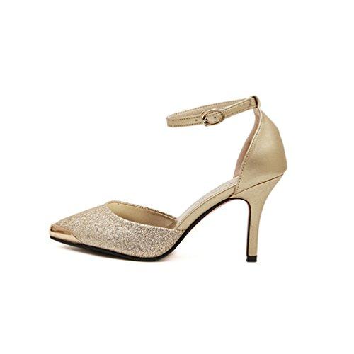 Inconnu Escarpins Talons Hauts Aiguilles Chaussure Pointu Bride Cheville Boucle Brillant Sandales Femmes Or t62kB