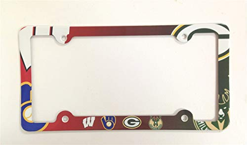 ATD Wisconsin Sports Teams License Plate Frame Decorative Aluminum License Plate Holder